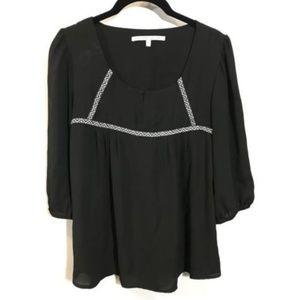 Collective Concepts Blouse Medium Black 3/4 Sleeve